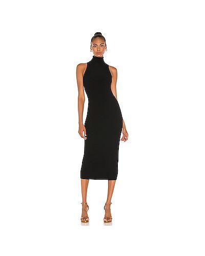 Черное платье миди из вискозы Alc