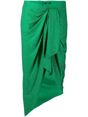 Асимметричная юбка миди на молнии с оборками в рубчик Balmain