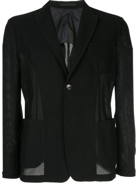 Черный удлиненный пиджак с карманами с воротником Giorgio Armani