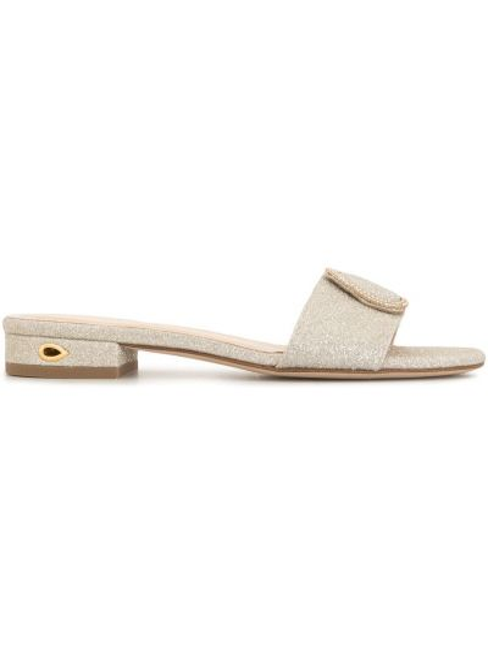 Открытые кожаные серебряные сандалии с открытым носком Jennifer Chamandi