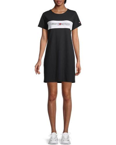 Czarna sukienka sportowa bawełniana krótki rękaw Tommy Hilfiger Sport