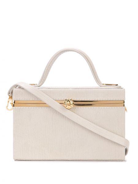 Золотистая серая сумка на цепочке круглая с карманами Tyler Ellis