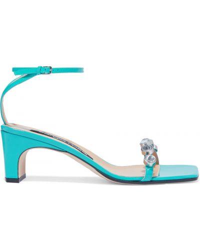 Sandały skorzane turkusowe klamry Sergio Rossi