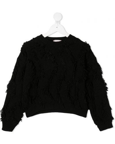 Черный шерстяной вязаный длинный свитер Mariuccia Milano Kids