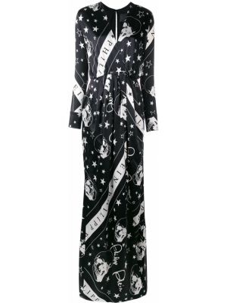 Шелковое черное платье макси с запахом Philipp Plein