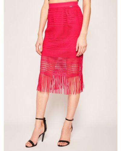 Różowa spódnica midi Guess