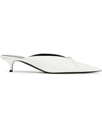 Кожаные белые мюли на каблуке Balenciaga