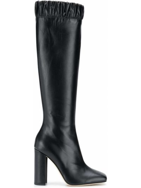 Черные сапоги на высоком каблуке на каблуке с квадратным носком квадратные Chloe Gosselin