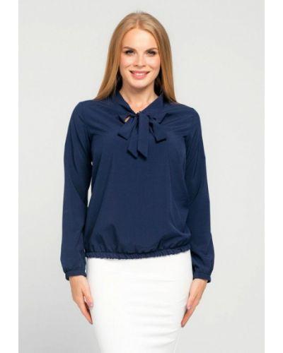 Текстильная синяя блузка с бантом текстиль хаус