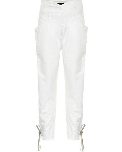 Кожаные белые джинсы с карманами Isabel Marant