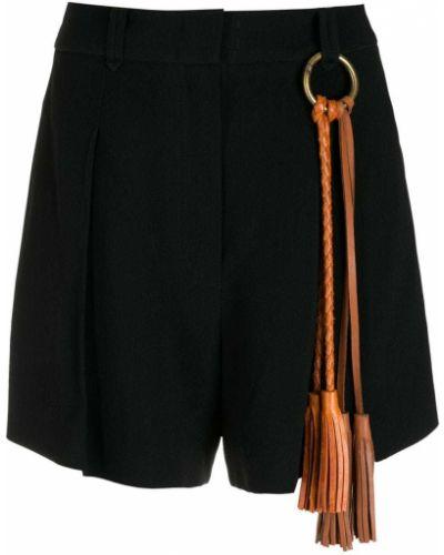 Черные шорты из вискозы с кисточками Nk