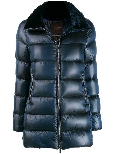 Прямая синяя длинная куртка Moorer