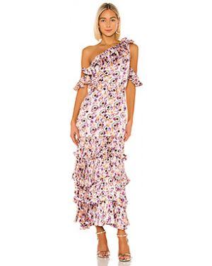 Текстильное фиолетовое плиссированное вечернее платье на молнии Alexis