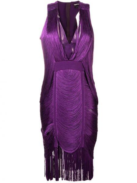 Платье миди с бахромой с V-образным вырезом Tom Ford
