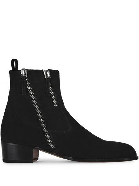 Skórzany czarny buty obcasy na pięcie Giuseppe Zanotti