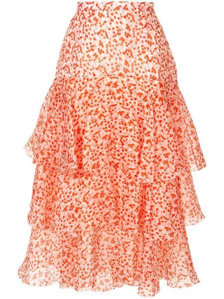 Różowa spódnica w grochy z jedwabiu Delpozo