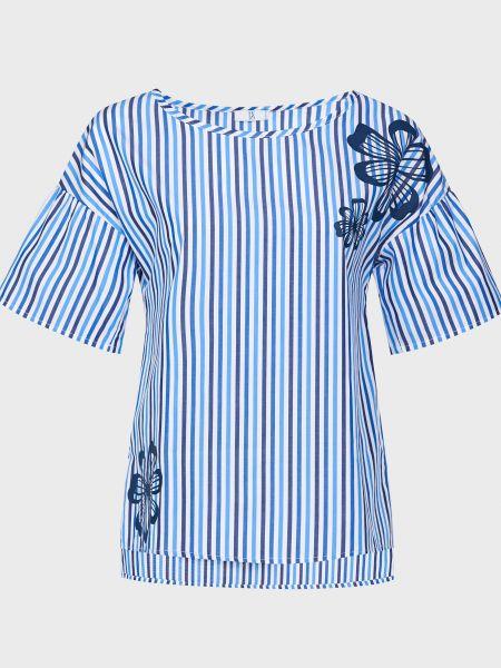 Хлопковая синяя блузка с поясом Sfizio