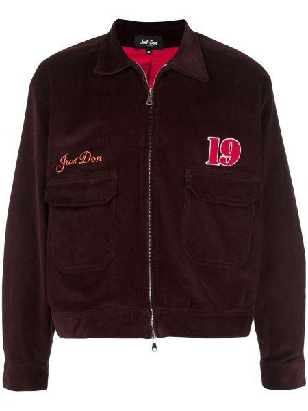 Fioletowa długa kurtka bawełniana z długimi rękawami Just Don