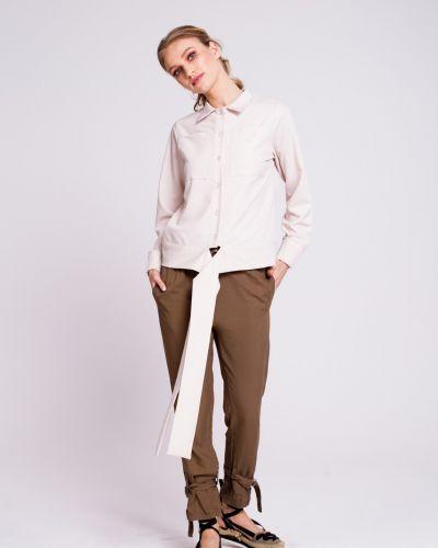 Коричневые брюки на резинке свободного кроя Naoko