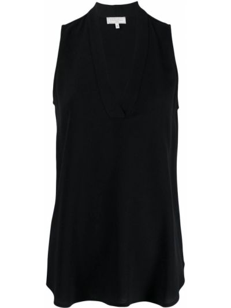 Шелковая черная блузка без рукавов Antonelli