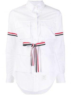 Biała koszula bawełniana z długimi rękawami Thom Browne