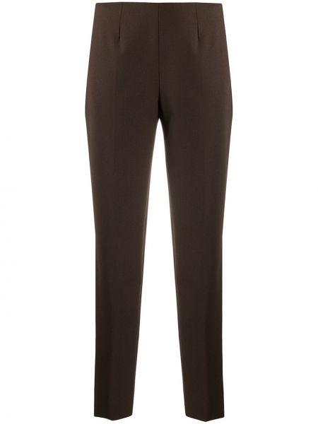 Брючные шерстяные коричневые брюки со складками Piazza Sempione