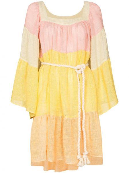 С рукавами желтое платье мини с вырезом квадратное Lisa Marie Fernandez