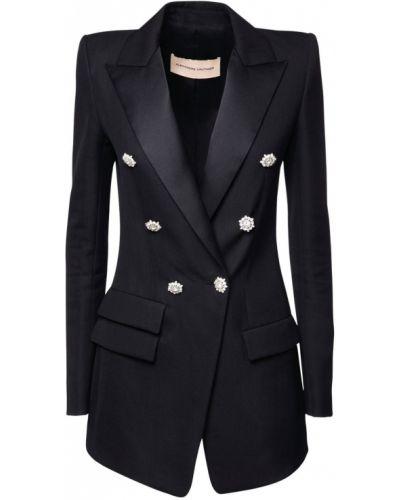 Шерстяной черный удлиненный пиджак с карманами Alexandre Vauthier