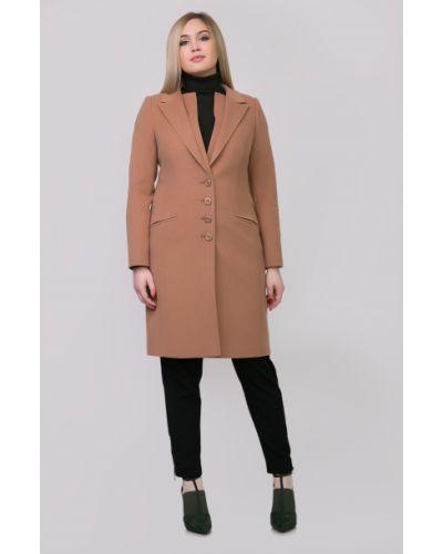 Однобортное бежевое пальто с карманами Sergio Cotti
