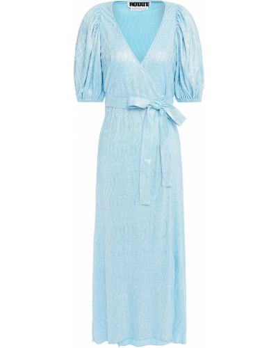 Sukienka midi kopertowa turkusowa Rotate Birger Christensen