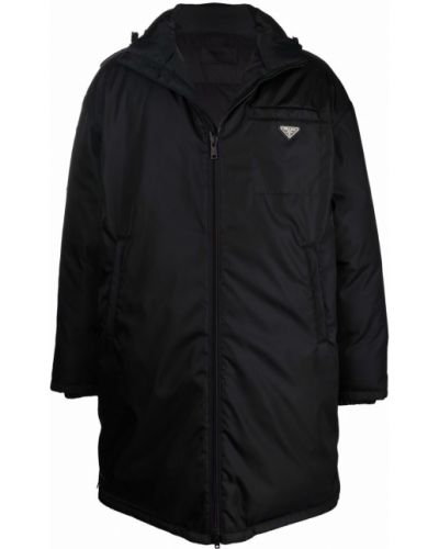 Płaszcz puchowy z kapturem - czarny Prada