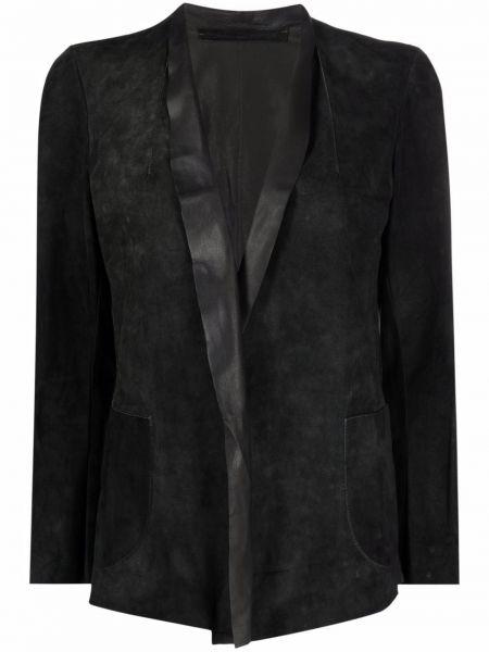 Замшевая кожаная куртка с длинными рукавами с заплатками Salvatore Santoro