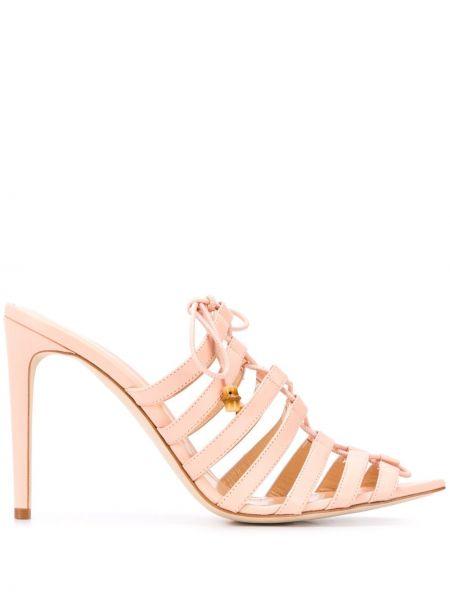 Розовые открытые босоножки на шнуровке с открытым носком Chloe Gosselin