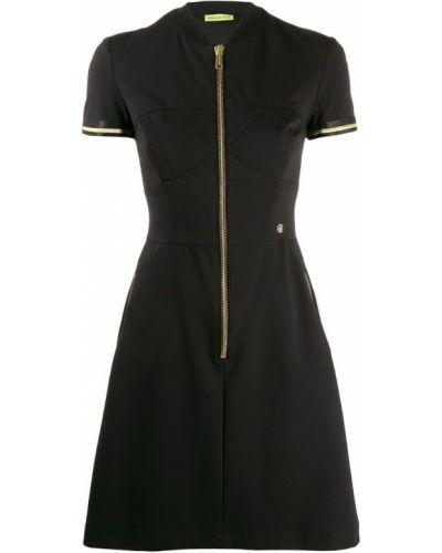 Расклешенное черное платье мини в рубчик Versace Jeans