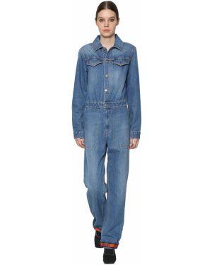 Синий джинсовый комбинезон с карманами с длинными рукавами Kenzo