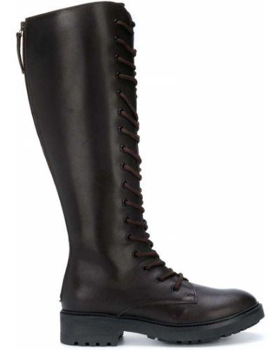 Коричневые кожаные сапоги на каблуке P.a.r.o.s.h.