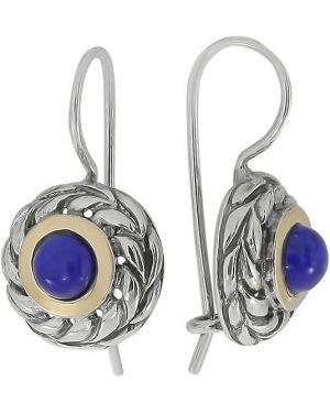 Серебряные серьги золотые синий Den'o