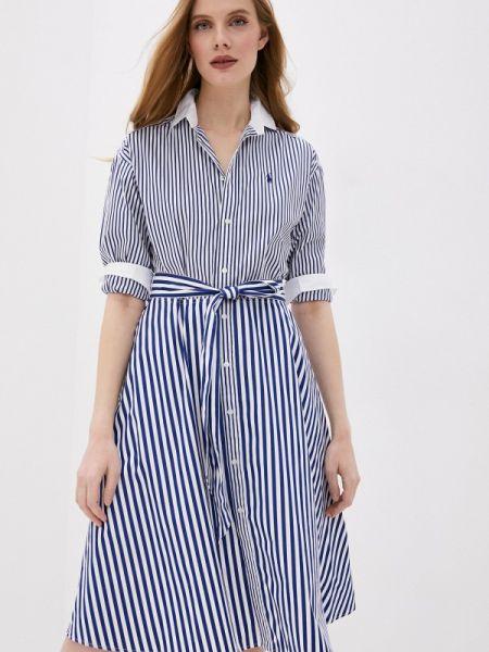Платье платье-рубашка синее Polo Ralph Lauren