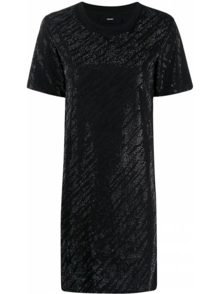 С рукавами черное платье мини с вырезом Diesel