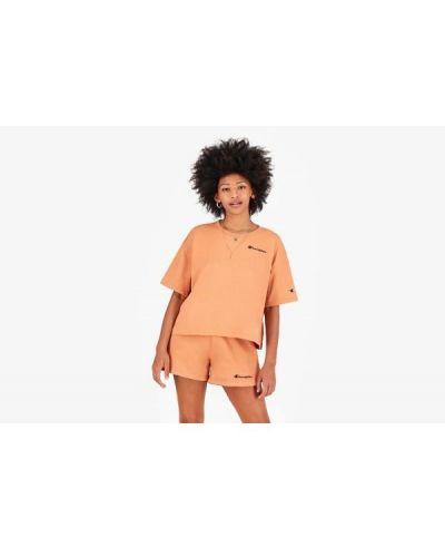 Pomarańczowy t-shirt z printem bawełniany Champion
