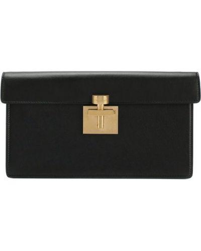 Черная вечерняя сумка Oscar De La Renta