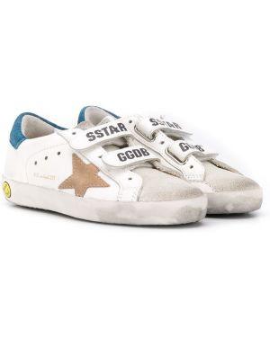 Skórzane sneakersy z logo żółty Golden Goose Kids