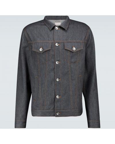 Wełniany światło niebieski jeansy na przyciskach Brunello Cucinelli