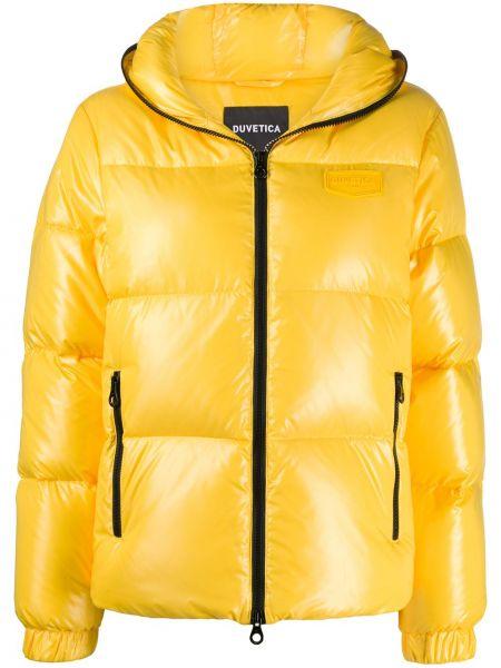 Желтая короткая куртка с капюшоном на молнии Duvetica