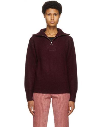Красный шерстяной длинный свитер с воротником Isabel Marant Étoile