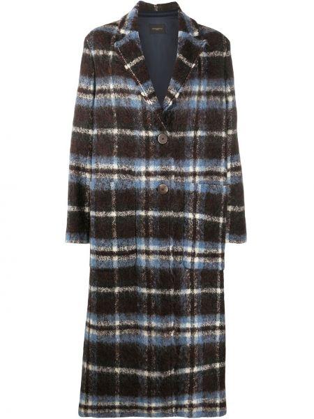 Синее длинное пальто в клетку из альпаки Antonelli