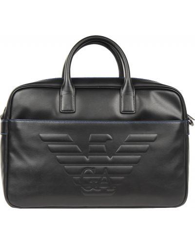 Кожаная сумка на молнии с отделениями Emporio Armani