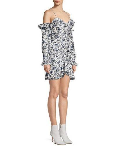 Шелковое бежевое платье мини с длинными рукавами Robert Rodriguez