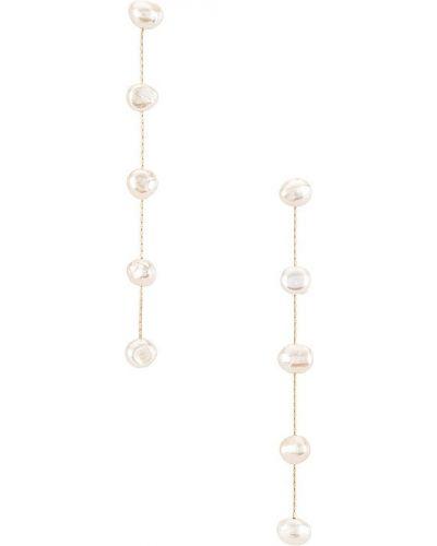 Białe złote kolczyki sztyfty perły Ettika