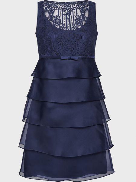 Шелковое синее платье на молнии Luisa Spagnoli
